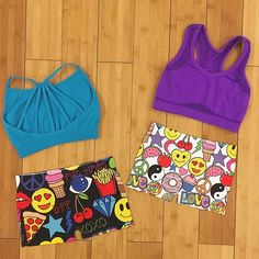 New arrivals! 🍕😘🍟⚡️💜 How cute are these mix and match sports bras and shorts! They come in different prints and colors too! 👯 #oytdancewear