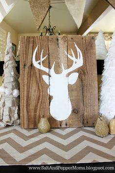 Salt and Pepper Moms: DIY Deer Art on Wooden Boards / Tutoriel tête de cerf sur planches de bois (en anglais seulement)