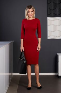 StarShinerS red dress office midi pencil neckline with sleeves from elastic fabric back slit Dresses For Work, Dresses With Sleeves, Bb, Neckline, Long Sleeve, Fabric, Clothes, Fashion, Gowns With Sleeves
