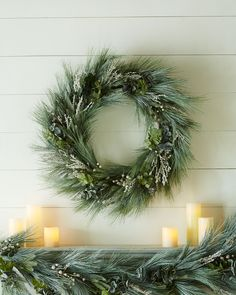 Beaded Pine Christmas Wreath - Horchow