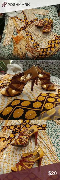 Naughty monkey high heels Golden leather n brown naughty monkey high heels size 7 very cute I love these but can't wear this type of heel anymore ❤ naughty monkey Shoes Heels