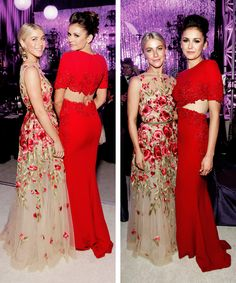 Nina Dobrev and Julianne Hough attend the 23rd Annual Elton John AIDS Foundation Academy on February 22, 2015.