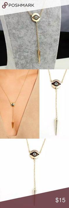 9490384bc NWOT Evil Eye Gold Spike baumeln Choker Goldkette Doppel Halskette. 22