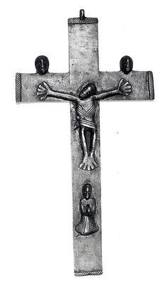 Brass crucifix, 17th c., Angola Africa. MET