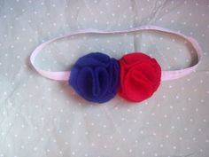 Red White and Blue Headband fourth of July by LittleAlmondBlossom, $5.50