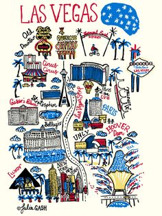 Las Vegas Cityscape by Julia Gash. I went to Vegas with my partner John in February 2012 for a trade show. I was intrigued by the architecture - a mini world in one city! We stayed at the LVH and I touched Elvis, which made me smile :-) Voyage Las Vegas, Las Vegas Map, Las Vegas Nevada, Travel Maps, Travel Posters, Travel Usa, Hawaii Travel, Italy Travel, Pier Santa Monica