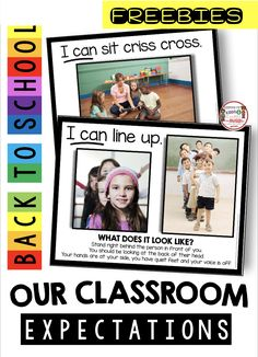 FREEBIES Classroom RULES and EXPECTATIONS - slideshow and mini book - how to teach procedures and routines - back to school kindergarten - first grade - second grade - third grade - classroom rules poster and chart with free printables and resources Teaching Rules, Teaching Procedures, Classroom Procedures, Classroom Behavior, Classroom Management, Behavior Management, Classroom Setup, 1st Day Of School, Beginning Of School