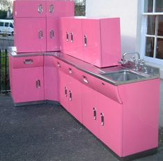 Got the metal Cabinets already...Holy Pink!!