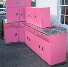 vintgae metal kitchen cabeintes | Vintage English Rose metal kitchen cabinets — from Spitfires to luxe ...