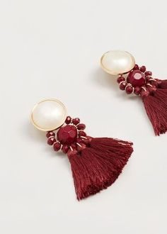 Tassels pendant earrings - Women | MANGO USA #bisuteria #bisuterias #bisuteriamujer #pendientes #bisuteriaplata #bisuteriademoda