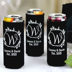 Tall and slim, these flexible premium neoprene can coolers personalized with large script married initial inside wedding geometric wreath design and up to 2 lines of custom print will keep guests' skinny 12 ounce cans of beer or hard seltzer frosty cold during your wedding reception. Small Thank You Gift, Thank You Gifts, Wedding Favors, Wedding Reception, Wedding Wreaths, Geometric Wedding, Coolers, Script, Initials
