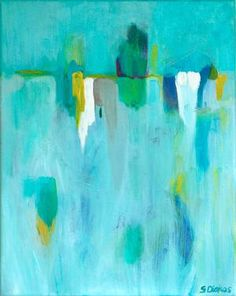"""Large blue wall art, canvas abstract print in turquoise blue green, original abstract painting art print titled """"Tacet"""" by Sarina Diakos Blue Abstract Painting, Abstract Canvas, Painting Prints, Canvas Wall Art, Wall Art Prints, Fine Art Prints, Abstract Paintings, Minimalist Art, Original Paintings"""
