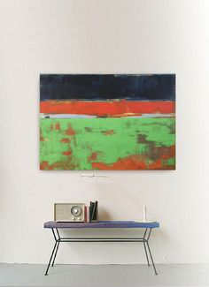 Abstract painting red green and blue modern by INKAARTSHOP on Etsy