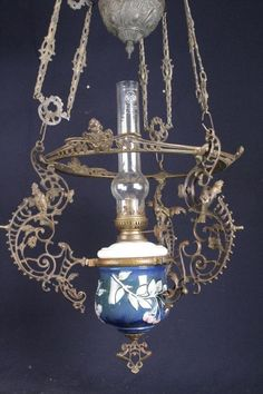 WOW a BEAUTIFUL ORNATE FRENCH BRONZE ANTIQUE HANGING OIL LAMP