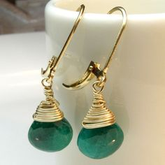 Emerald Earrings, Gold, Green Gemstone, Handmade Jewelry