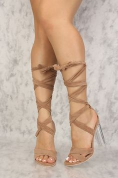 868ba86845b7 Beige Strappy Lace Up Tie Clear Chunky High Heels Faux Velvet