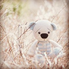 """One of my favourite shots from the book """"Magical Amigurumi Toys"""" - Tummy Teddy. Photo by @annikametsla #magicalamigurumitoys #lilleliispattern #lilleliis #teddybear"""