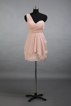 One Shoulder Pearl Pink Sweertheart Short Chiffon Bridesmaid Dress, Blush Bridesmaid Dress