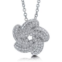 BERRICLE BERRICLE Sterling Silver CZ Flower Wedding Bridal Fashion... (130 NZD) ❤ liked on Polyvore featuring jewelry, necklaces, clear, pendant necklace, women's accessories, cubic zirconia pendant necklace, cz necklace, bridal necklace, chain necklace and sterling silver pendant necklace