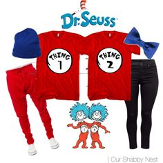 Couples Costumes: Thing 1 & Thing 2 by ourshabbynest on Polyvore featuring…