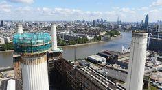dismantling of battersea power station chimneys begins