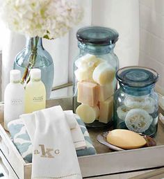 """You know all those little soaps that you get at the hotel? Why not mix them in a pretty jar like above for your guest bathroom. If guests need them they're there, if not, you still have a creative way to use those darn little hotel soaps you've ferreted away """"in case you need them"""", or in my case """"because they're so cute""""!"""