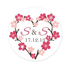 Cherry Blossom Hearts Personalised Circle Wedding Labels (Set of 35) - Cherry