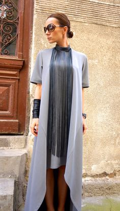 New Collection Maxi Dress / Grey Asymmetrical Kaftan / by Aakasha