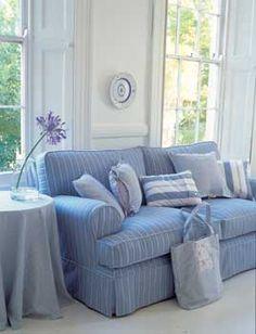 blue/white shirt stripe sofa/pillows - love that faded blue!
