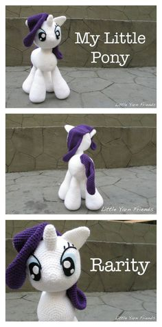 Amigurumi Crochet Crochet My Little Pony - Rarity Free Pattern - My Little Pony has been a favorite of little girls for many years. You can make them with these Awesome My Little Pony Free Crochet Patterns. Crochet Pony, Poney Crochet, Crochet Horse, Crochet Eyes, Crochet Doll Pattern, Crochet Baby Hats, Crochet Toys Patterns, Crochet Patterns Amigurumi, Cute Crochet