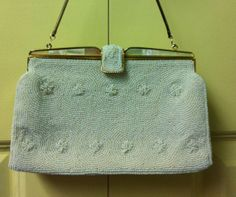 Vintage 1940s Clutch Beaded Mother of Pearl by CollegeTownVintage