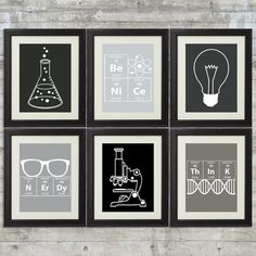 Nerdy Science Art set of 6 8x10 Instant by PrintsAndPrintables