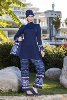 Modest Swimwear Top with decorative detail at sleeve, printed legging. Conservative Swimsuit, Islamic Swimwear, Printed Leggings, Fabric Material, Swimsuits, Navy, Elegant, Stylish, Sleeves