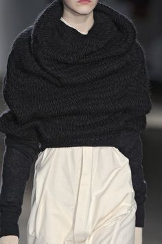 Cropped cowl neck sweater with soft sculptural folds; chic fashion details // A.F. Vandevorst
