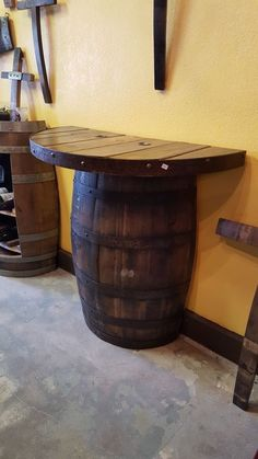 half wine barrel coffee table - Many people enjoy building items using own hands then one such item . Man Cave Bar, Wine Barrel Table, Spool Tables, Bars For Home, Barrel Projects, Rustic Bathrooms, Home Bar Designs, Bar Room, Bar Design