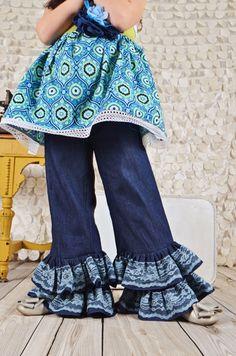 Filles Double Ruffle pantalons en Denim avec dentelle