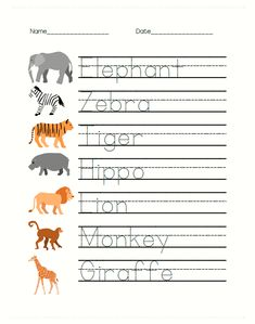 Free Safari Animal Worksheets for PreK are great for writing and math learning! Trace the animal names while talking about each animal: what color it . Animal Worksheets, Printable Preschool Worksheets, Tracing Worksheets, Kindergarten Worksheets, Preschool Activities, Homeschool Worksheets, Money Worksheets, Daycare Curriculum, Therapy Worksheets