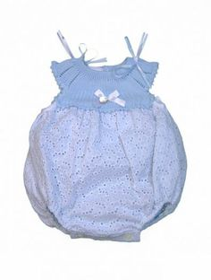 PELELE PERFORADO CON CANESÚ DE PUNTO - Kiddytop.com Kids Outfits, Summer Dresses, Knitting, Crochet, Children Clothes, Big Project, Baby Things, Bags, Craft