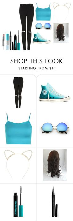 """""""#22 very blue"""" by lacousine14 on Polyvore featuring mode, Topshop, Converse, WearAll, Lipsy, Urban Decay, Marc Jacobs et Estée Lauder"""