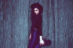 Violet from V. E. in the Midnight Metallic Pant and Spiked Platform