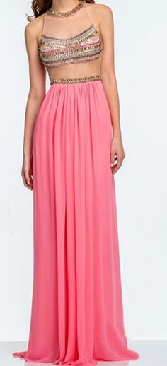 Bohemian Watermelon/Coral Beaded Sheath/Column High-neck Sweep Train Prom Dress