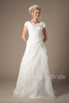 cheap modest wedding dresses, the Drummond with ruching and lace