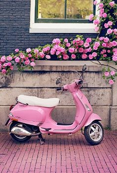 Europe Photography - Pink Scooter and Roses, Fine Art Travel Photograph, Nursery Art, Large Wall Art Pretty In Pink, Pink Love, Cute Pink, Vespa Rose, Pink Vespa, Vespa Girl, Rosa Vespa, Repetto Paris, Fond Rose Pale