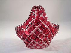 Bohemian Czech Cranberry Cut to Clear Glass Basket Clear Glass, Glass Art, Bohemia Glass, Cranberry Glass, Antique Glassware, Bohemian Art, Decorative Glass, Crystal Vase, Fenton Glass