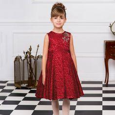 Love Made Love - Red Jacquard Dress with Diamanté Rose | Childrensalon