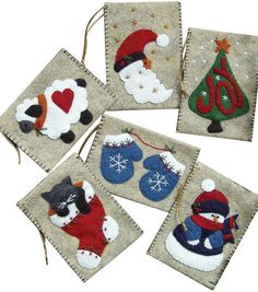 Rachels of Greenfield Gift Bag Christmas Ornaments - Felt Applique Kit. Delightful ornament bags are just the right size for Felt Christmas Ornaments, Christmas Bags, Handmade Christmas, Christmas Stockings, Xmas, Christmas Tree, Felt Stocking Kit, Stocking Tree, Felt Ornaments Patterns