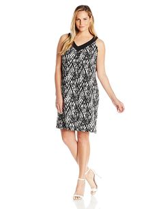 Notations Women's Plus Size Printed Sleeveless Cleo V Neck Dress * New and awesome product awaits you, Read it now  : Plus size dresses