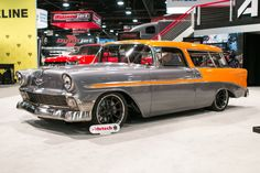 """John's incredible 1956 """"Nomax"""" Bel Air wagon was built by Crosby Designs and debuted in the Anzo Lighting booth at the 2016 SEMA Show. It's powered by a LB7 Duramax turbo diesel and rides on TCI Engineering suspension, RideTech coilovers, Baer brakes, Nitto tires, and Grip Equipped Dropkick wheels finished with Matte Black centers & Polished outers! See more at: http://www.forgeline.com/customer_gallery_view.php?cvk=1795 #Chevy #Nomad #Duramax #SEMAShow #Forgeline"""