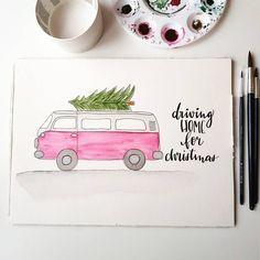 Watercolor christmas tree van illustration