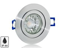 Feuchtraum LED Einbaustrahler Set IP44 Aluminium Feinschliff rund mit Marken GU10 LED Spot Bioledex Helso 3 Watt COB
